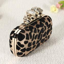 Aftonväska Leopard Skull Ring Knuckle Koppling Kedja Shoulder Handbag