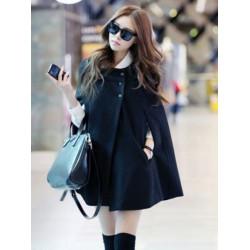 Fashion Black Batwing Cape Wool Poncho Jacket Winter Warm Cloak Coat