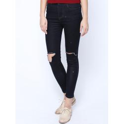 Beiläufige Art und Weise Denim Blue ramponierte Löcher Lange Hose Hosen Jeans