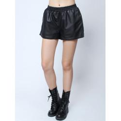 Mode Casual Hög Midja Fickor PU Hem Slit Shorts