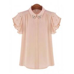 Fashion Casual Loose Bead Turn Drown Neck Batwing Sleeve OL Bluse