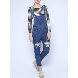 Mode Casual Lös Blå Misshandlade Hål Jeans Jumpsuits