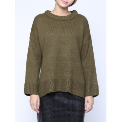 Fashion Casual Loose Pullover O Neck Asymmetric Hem Knitwear Sweater