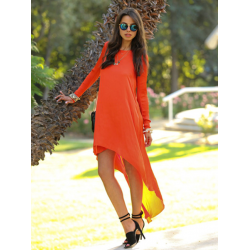 Fashion Casual Loose Women Long Sleeve O Neck Chiffon Irregular Dress