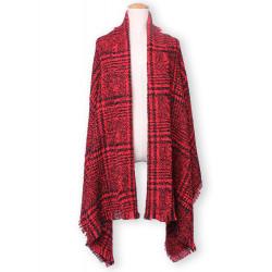 Mode Casual Plaid Tassle Hem Stickad Tweed Halsduk Shawl
