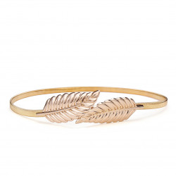 Fashion Casual Women Golden Silver Leaves Metal Elastic Belt