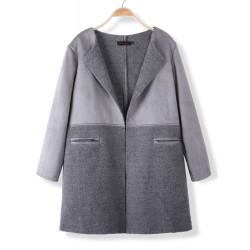 Beiläufige Art und Weise Frauen lösen Lammwolle Patchwork Wolljacke Mantel