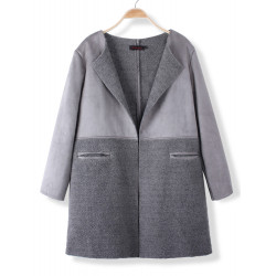 Fashion Casual Women Loose Lamb Wool Patchwork Cardigan Coat