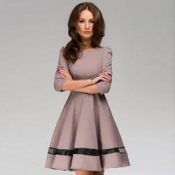 Fashion Casual Women Pleated Long Sleeve A Line OL Dress