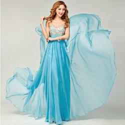 Mode Chiffion Abnehmen Schulter Gurt Braut Hochzeits Abend Kleid