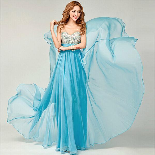 Mode Chiffion Abnehmen Schulter Gurt Braut Hochzeits Abend Kleid Damenbekleidung
