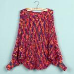 Arbeiten Sie bunten Flügel lange Flügel Hülsen Knit Shorts Pullover Damenbekleidung