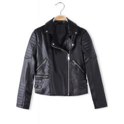 Fashion Cool PU Buckle Strap Long Sleeve Short Motorcycle Jacket Coat