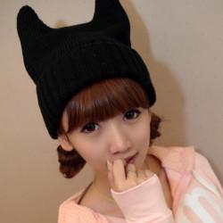 Fashion Cute Devil Angle Cat Ear Korea Knitting Wool Unisex Cap