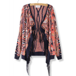 Mode Lös Färgrik Tassel Retro Hem Knit Cardigan Tröja