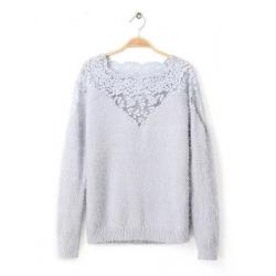 Fashion Loose Downy Lace Splicing Soft Women Knitwear Sweater
