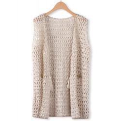 Fashion Loose Net Yarn Chunk Lurex Knitted Sleeveless Cardigan
