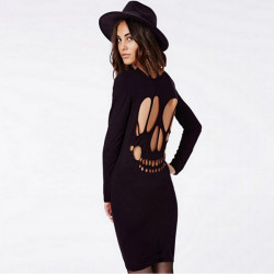 Fashion Sexy Hot Slim O Neck Hollow Backless Long Sleeve  Dress