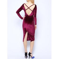 Mode reizvolle dünne Schlitz Hem rückenfrei Langarm Lint Kleid