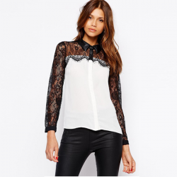 Fashion Sexy Women Lace Splicing Long Sleeve Stand Collor OL Blouse
