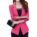Mode Solid Color 3/4 One Button Lace Hem Suit Blazer Damkläder