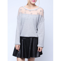 Mode Transparente Netz Patchwork T Shirt
