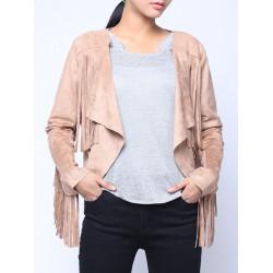 Mode Vintage Blown Tassel Asymmetri Lång Kortärmade Velvet Jacket