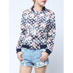 Mode Blom- Lång Ärm V-ringad Shorts Jacket