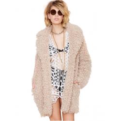 Mode Winter Frauen beiläufige Umlegekragen Fleece Kamel Mantel