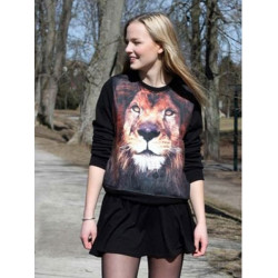 Mode Damen 3D Lion Tier Sweatshirt Langarm Rundhals Shirt