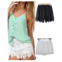 Fashion Women Casual Sweet Cute Elastic Waist Lace Shorts Short Pants