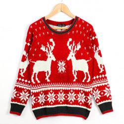 Fashion Kvinder Jul Deer Mønster Rund Hals Langærmet Trøje Sweater