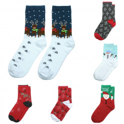 Fashion Women Christmas Snowflake Deer Print Wool Middle Tube Socks