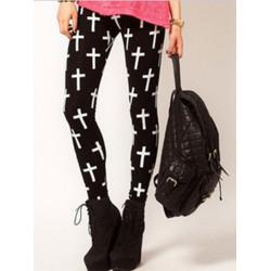 Fashion Women Cross Print Skinny Stretch Tight Black Leggings Pants