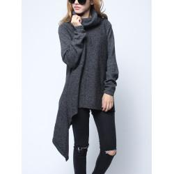 Fashion Women High Collar Irregular Long Sleeve Thick Knitting Sweater