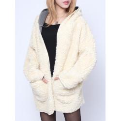Fashion Women Plus Size Winter Thicken Outerwear Wool Hooded Coat
