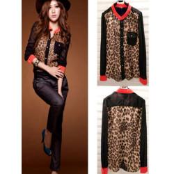 Arbeiten Sie Frauen Schulterpolster Leopard Chiffon Langarm Bluse