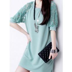 Fashion Kvinder Sommer Maxi Loose Lace Kort Sleeve Round Neck Kjoler