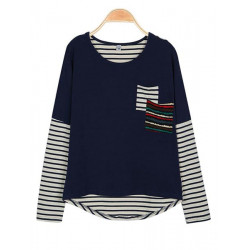 Female Patchwork Stripe Loose T-shirt