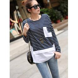 Kvinna Patchwork Stripe Lös T-shirt