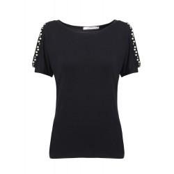 Kvinna: S Beaded Off-Shoulder Slim Kort Batwing Sleeve T-Shirt