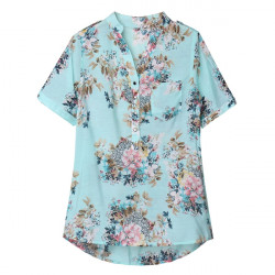 Floral Print Chiffon Blouses Women Flower Printed Short Sleeve Long Sleeve Shirt