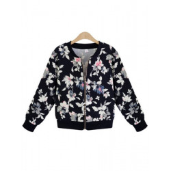 Floral Print Zipper Short Jacket Coat Black