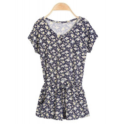 Floral Printed Button Before Draw String Waist Elastic Shorts Skirts