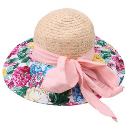 Floral Printed Streamer Bowknot Embellished Straw Hat