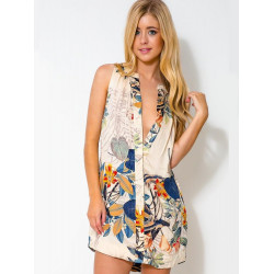 Floral Sleeveless Deep V Neck Loose Dresses Flower Print Casual Dress
