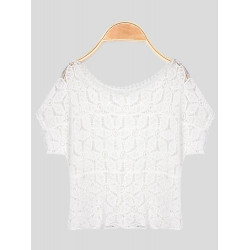 Flower Knitted T-shirt with Hollow Out Detail