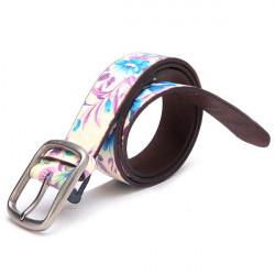 Flower Print Wide PU Leather Belt