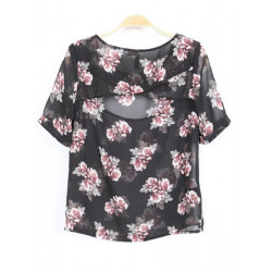 Flowers Print Tilbage Hollow Out T-shirt