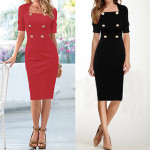 Formal Work Dress Solid Half Sleeve Square Neck Button Pencil  Bodycon Women's Clothing